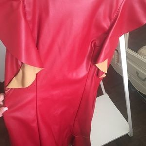 Dresses & Skirts - Red faux leather dress size m